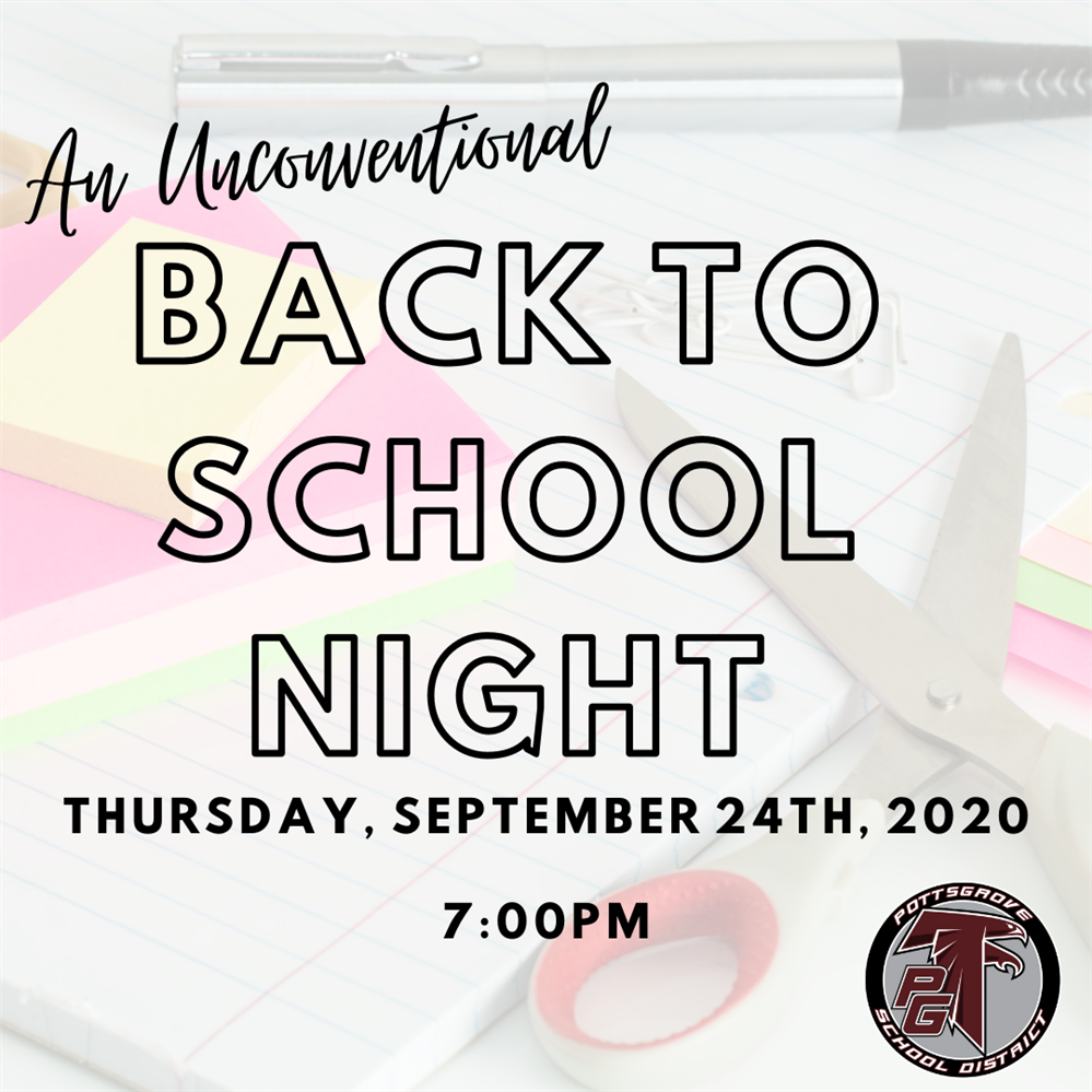 Faded Imgae of School Supplies with Back to School Night 9/24/2020 at 7pm