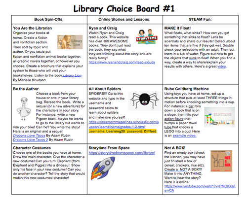 Library Choice Board 1